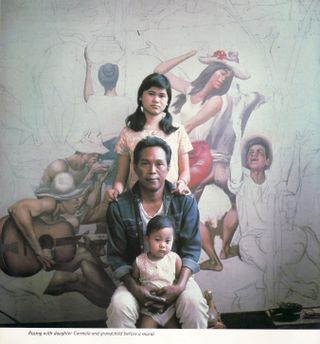 Botong with daughter and grandchild (from Carlos V. Francisco by Paul Zafaralla and Virginia Ty-Navarro)